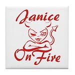 Janice On Fire Tile Coaster