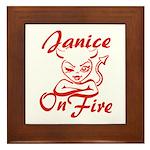 Janice On Fire Framed Tile
