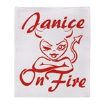 Janice On Fire Throw Blanket