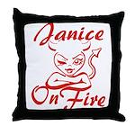 Janice On Fire Throw Pillow