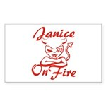 Janice On Fire Sticker (Rectangle)