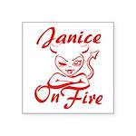 Janice On Fire Square Sticker 3