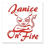 Janice On Fire Square Car Magnet 3
