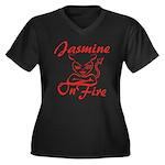 Jasmine On Fire Women's Plus Size V-Neck Dark T-Sh