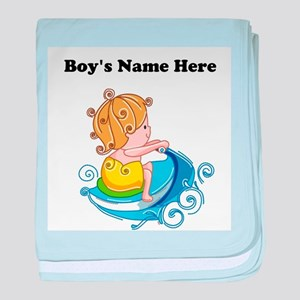 Personalize Boy on Watercraft baby blanket