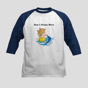 Personalize Boy on Watercraft Kids Baseball Jersey