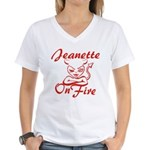 Jeanette On Fire Women's V-Neck T-Shirt