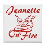 Jeanette On Fire Tile Coaster