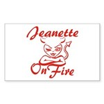 Jeanette On Fire Sticker (Rectangle)