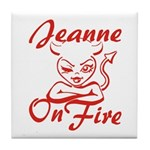 Jeanne On Fire Tile Coaster