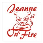 Jeanne On Fire Square Car Magnet 3