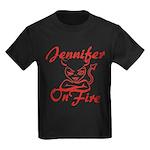 Jennifer On Fire Kids Dark T-Shirt