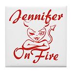Jennifer On Fire Tile Coaster