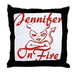 Jennifer On Fire Throw Pillow