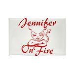 Jennifer On Fire Rectangle Magnet