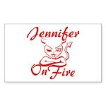 Jennifer On Fire Sticker (Rectangle)