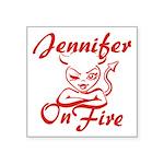 Jennifer On Fire Square Sticker 3