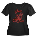 Jeri On Fire Women's Plus Size Scoop Neck Dark T-S