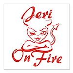 Jeri On Fire Square Car Magnet 3