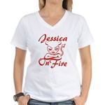 Jessica On Fire Women's V-Neck T-Shirt