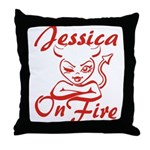 Jessica On Fire Throw Pillow