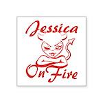 Jessica On Fire Square Sticker 3