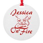 Jessica On Fire Round Ornament