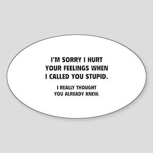 I'm Sorry Sticker (Oval)