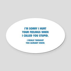 I'm Sorry Oval Car Magnet