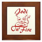 Jodi On Fire Framed Tile