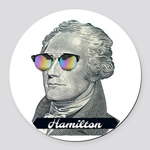 Hamilton with Shades Round Car Magnet