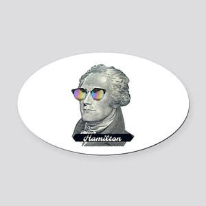 Hamilton with Shades Oval Car Magnet