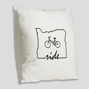 Ride Oregon Burlap Throw Pillow
