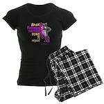 pink wolf-panther Women's Dark Pajamas