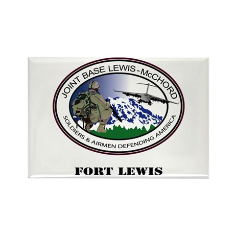Fort Lewis with Text Rectangle Magnet