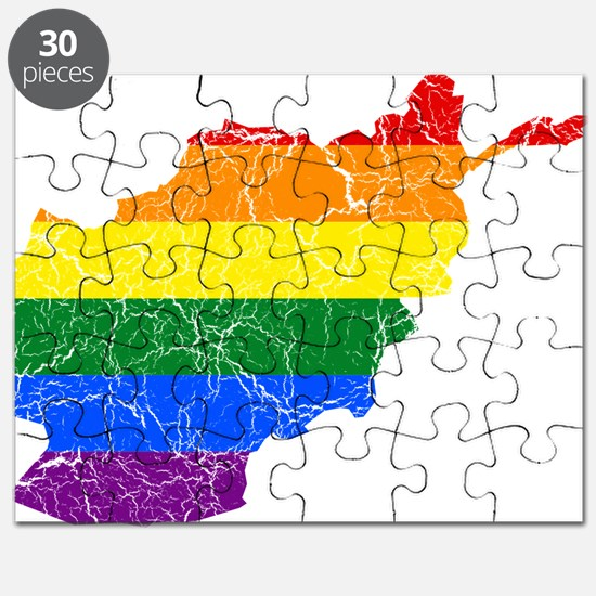 Afghanistan Rainbow Pride Flag And Map Puzzle