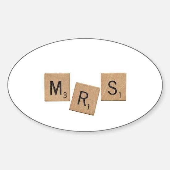 Mrs Scrabble Letters Sticker (Oval)