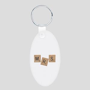Mrs Scrabble Letters Aluminum Oval Keychain