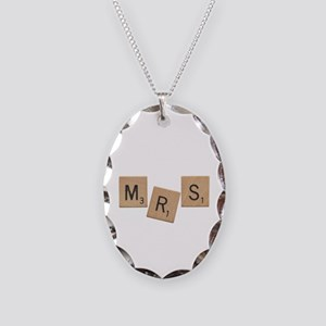 Mrs Scrabble Letters Necklace Oval Charm