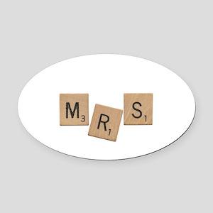 Mrs Scrabble Letters Oval Car Magnet