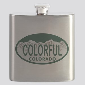 Colorful Colo License Plate Flask
