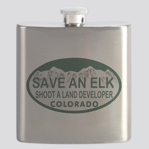 Save an Elk Colo License Plate Flask