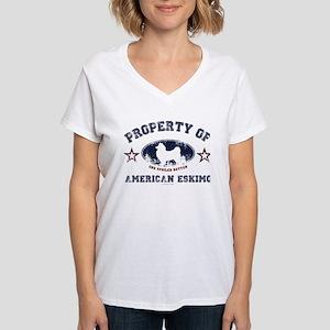 American Eskimo Women's V-Neck T-Shirt