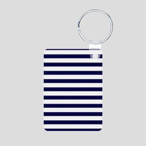 Nautical Navy Stripes Aluminum Photo Keychain