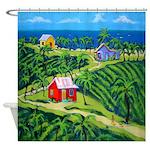 Caribbean Tropical Folk Art Shower Curtain