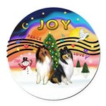 XMusic2 - Two Collies Round Car Magnet