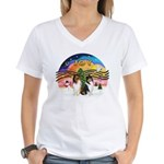 XMusic2 - Two Collies Women's V-Neck T-Shirt
