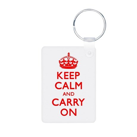 Keep Calm And Carry On Aluminum Photo Keychain