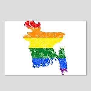 Bangladesh Rainbow Pride Flag And Map Postcards (P