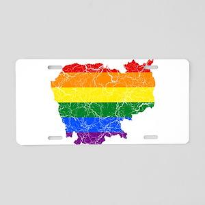 Cambodia Rainbow Pride Flag And Map Aluminum Licen